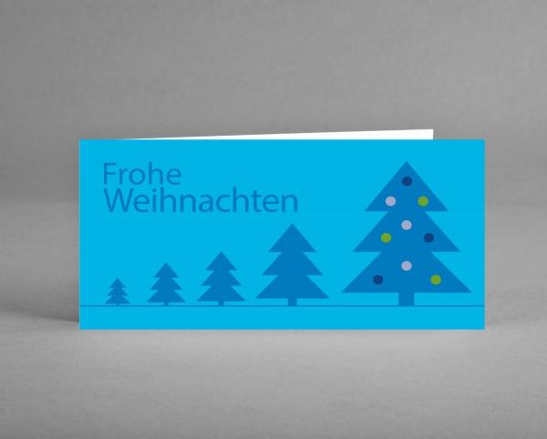 """MYSTISCH: Weihnachtskarte """"Blaue Weihnachtsbäume auf Cyan"""" inkl. Kuvert und Versand"""