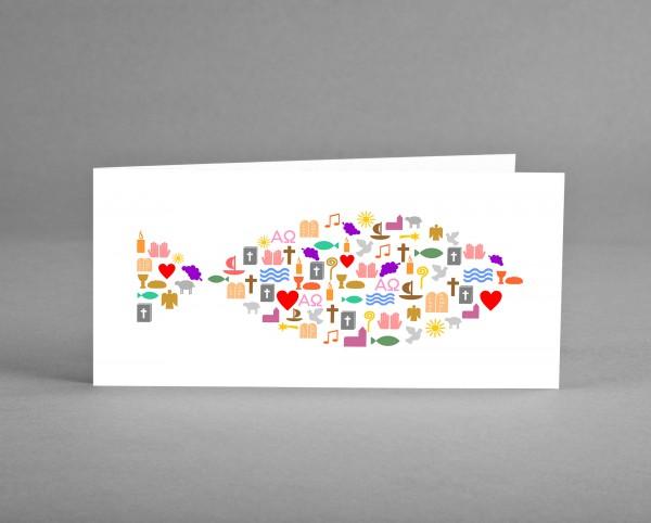 """NEUTRAL: Glückwunsch- oder Einladungskarte """"Fisch bestehend aus christlichen Symbolen"""""""