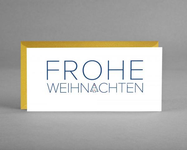 """GLAMOURÖS IN GOLD: Weihnachtskarte """"Frohe Weihnachten"""" mit blauem Schriftzug inkl. Kuvert"""