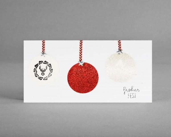 ROTE & WEISSE GLITZER-KUGEL: Weihnachtskarte mit rot- und weiß-farbiger Glitter-Weihnachtsbaumkugel