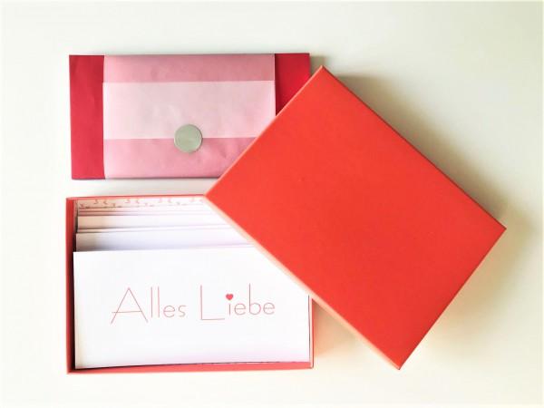 Kartenbox coralle: 10 besondere Grußkarten in der edlen artoz Pure Box A5 in coralle
