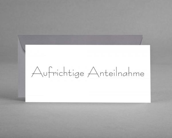 """DEZENT EDEL: Trauerkarte """"Aufrichtige Anteilnahme"""" weiß inkl. Kuvert"""