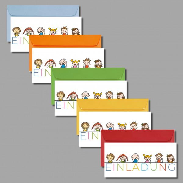 VERSPIELT: 5 Einladungskarten zum Geburtstag inkl. Kuvert (5 Stück)