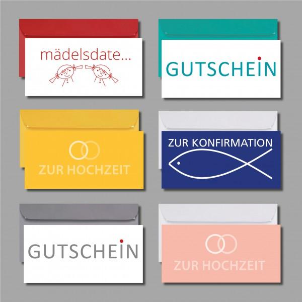 """GUTSCHEINE MAL ANDERS: Kartenset """"Gutscheine"""" inkl. Kuverts (6 Stück)"""