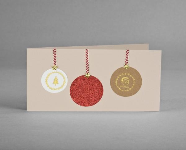 ROTE GLITZER-KUGEL: Weihnachtskarte mit rotfarbiger Glitter-Weihnachtsbaumkugel inkl. Kuvert