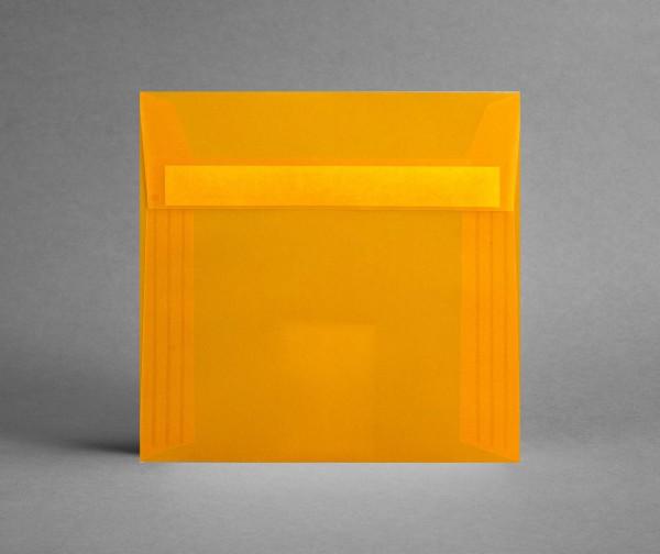 In ORANGE-TRANSPARENT: 5 Kuverts quadratisch155 x 155 mm, ohne Sichtfenster (Set)