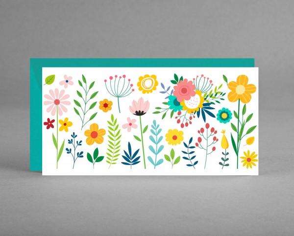 BLUMIG IN TÜRKIS: Universelle Einladung-, Gutschein-, oder Glückwunschkarte inkl. Kuvert
