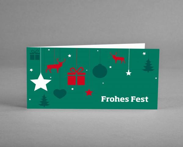 SKANDINAVISCH: Weihnachtskarte mit weihnachtlichen Symbolen inkl. Kuvert