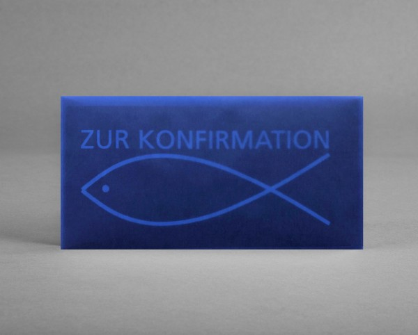 """AUSDRUCKSSTARK IN BLAU-TRANSPARENT: Konfirmationskarte """"Fisch auf blau"""" inkl. Kuvert"""