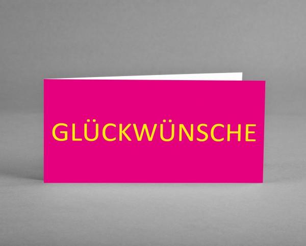 """FARBENFROH: Glückwunschkarte """"Glückwünsche"""" magenta-pink-gelb inkl. Kuvert und Versand"""