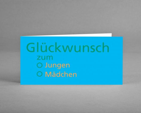"""PRAGMATISCH: Grußkarte """"Glückwunsch zum ..."""" hellblau-orange-grün inkl. Kuvert"""