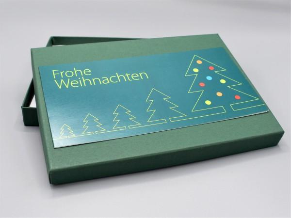 """10 kreative Grußkarten in der artoz Pure Box A5 in dunkelgrün als """"Begleiter durch das Jahr 1"""""""
