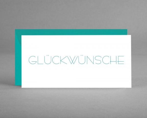 """SCHLICHT: Grußkarte """"Glückwünsche"""" smaragdgrüner Schriftzug auf weiß inkl. Kuvert"""