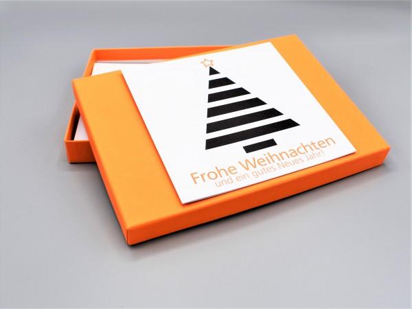 """10 exklusive Grußkarten in der artoz Pure Box A5 in orange """"mandarin"""" """"Begleiter durch das Jahr 1"""""""