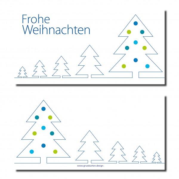 Frohe Weihnachten F303274r Kunden.Weihnachtskarte Weihnachtsbaume Blaue Silhouette Inkl Kuvert Und Versand