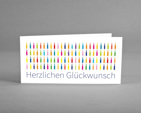 FIRMENGRUSSKARTE MIT LOGO: 25 Glückwunsch-Karten mit bunten Kerzen auf weiß mit Logo inkl. Kuverts