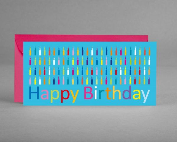 "TRENDIG IN PINK: Glückwunschkarte zum Geburtstag ""Happy Birthday mit Kerzen"" inkl. Kuvert"