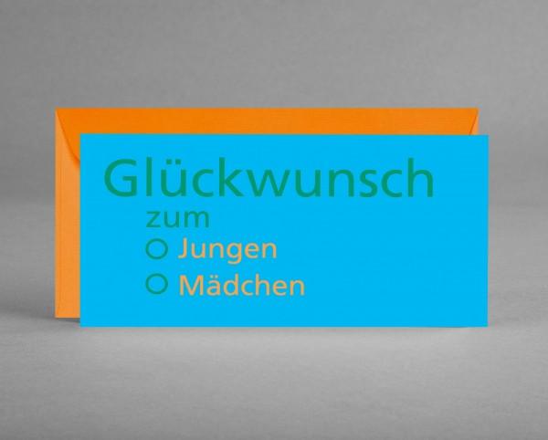 """FÜR DIE GENDER REVEAL PARTY: Grußkarte """"Glückwunsch zum ..."""" hellblau-orange-grün inkl. Kuvert"""