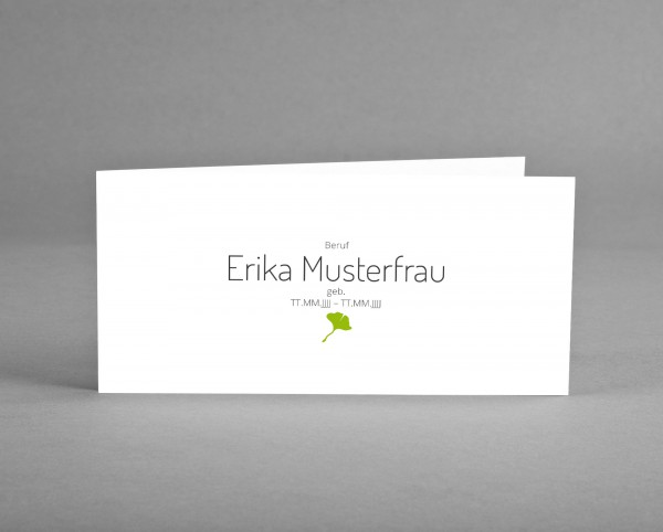 10 INDIVIDUALISIERBARE Trauer-Danksagungskarten mit Symbol Gingko farbig inkl. Kuverts und Versand