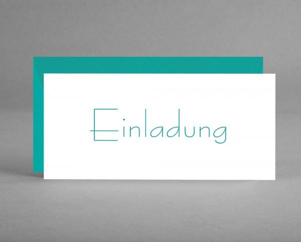 """ZEITLOS: Einladungskarte """"Einladung"""" grüner Schriftzug auf weiß inkl. Kuvert"""