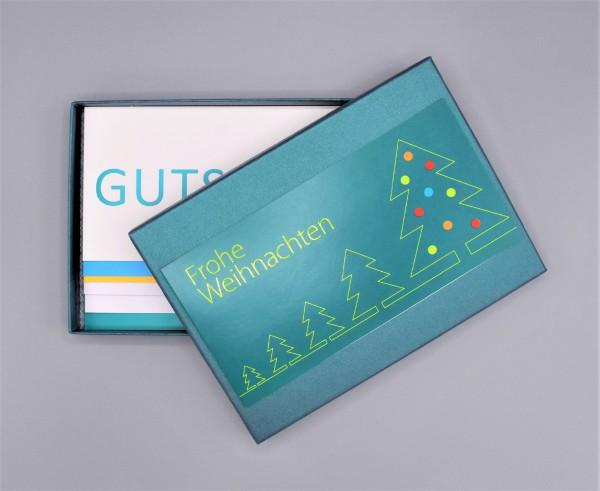 """Kartenbox in tannengrün mit 10 verschiedenen Grußkarten """"Bunter Mix durch das Jahr 2"""""""