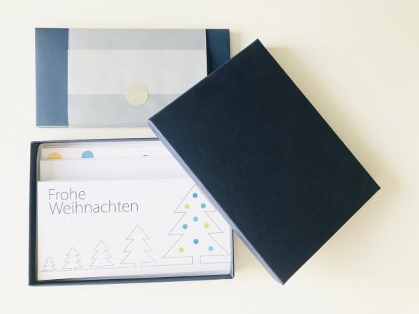 Kartenbox saphir: 10 besondere Grußkarten in der edlen artoz Pure Box A5 in saphir