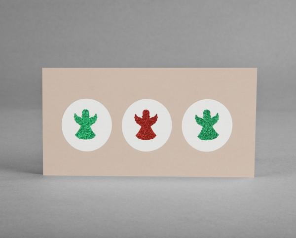GLITZER-ENGELROT-GRÜN: Weihnachtskarte mit gestanzten Glitter-Engeln im Kreis inkl. Kuvert
