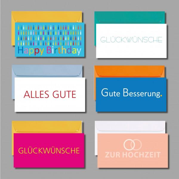 """WÜNSCHE MAL ANDERS: Kartenset """"Wünschekarten 1"""" inkl. Kuverts (6 Stück)"""