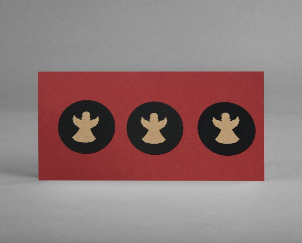 """WEIHNACHTSENGEL I: Weihnachtskarte """"Engel"""" aus Bastelkarton auf dunkelrot inkl. Kuvert"""