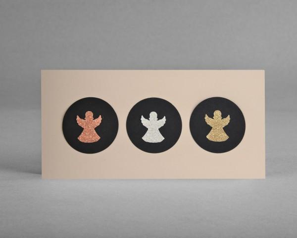 GLITZER-ENGEL: Weihnachtskarte mit gestanzten Glitter-Engeln im Kreis inkl. Kuvert