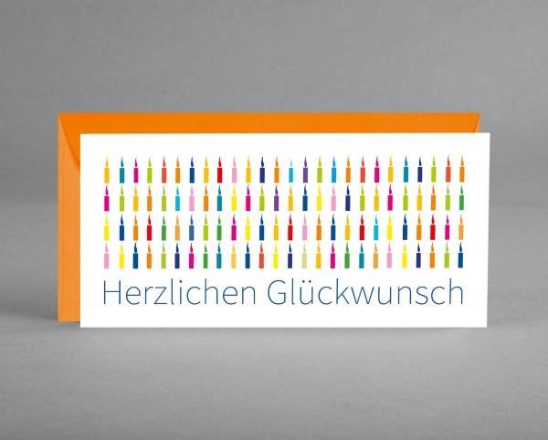 "BUNTE KERZEN IN ORANGE: Glückwunschkarte ""Herzlichen Glückwunsch"" mit bunten Kerzen inkl. Kuvert-Cop"