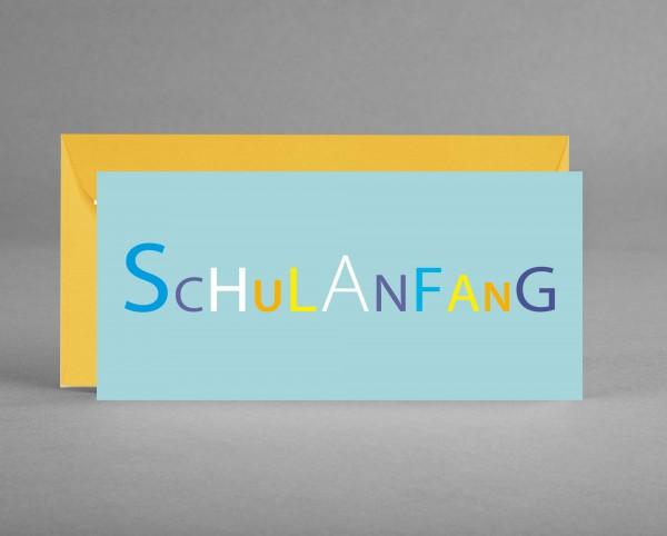 "VERSPIELT: ""Schulanfang"" pastellblau inkl. Kuvert"