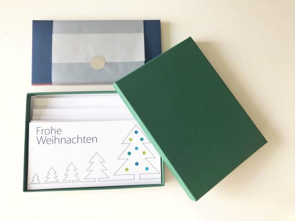 Kartenbox dunkegrün: 10 besondere Grußkarten in der edlen artoz Pure Box A5 in racing green