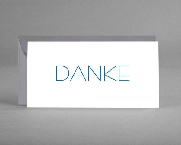 DEZENT IN GRAU: Danke-Karte weiß mit blauer Schrift inkl. grauem Kuvert
