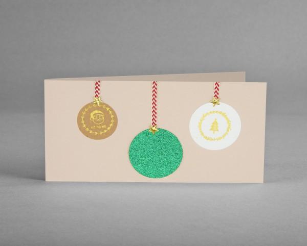 GRÜNE GLITZER-KUGEL: Weihnachtskarte mit grünfarbiger Glitter-Weihnachtsbaumkugel inkl. Kuvert
