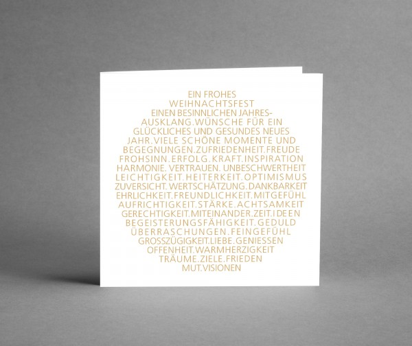 EDEL IN WEISS MIT GOLD: Weihnachtskarte Weihnachtsbaumkugel als Text in gold inkl. Kuvert