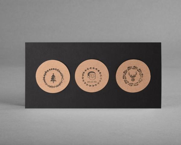 KONTRASTREICH: Weihnachtskarte Kreise aus Kraftpapier auf schwarz inkl. Kuvert