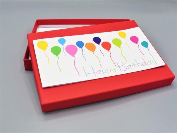 """10 hochweritge Grußkarten in der artoz Pure Box A5 in rot """"Begeiter durch das Jahr 3"""""""
