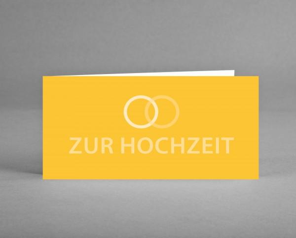 """TRENDIG GLAMOURÖS IN GELB: Glückwunschkarte """"Zur Hochzeit"""" gelb mit Glitzerlack inkl. Kuvert"""