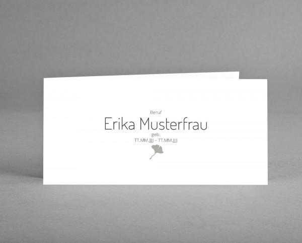 10 INDIVIDUALISIERBARE Trauer-Danksagungskarten GINGKO schwarz-weiß inkl. Kuverts