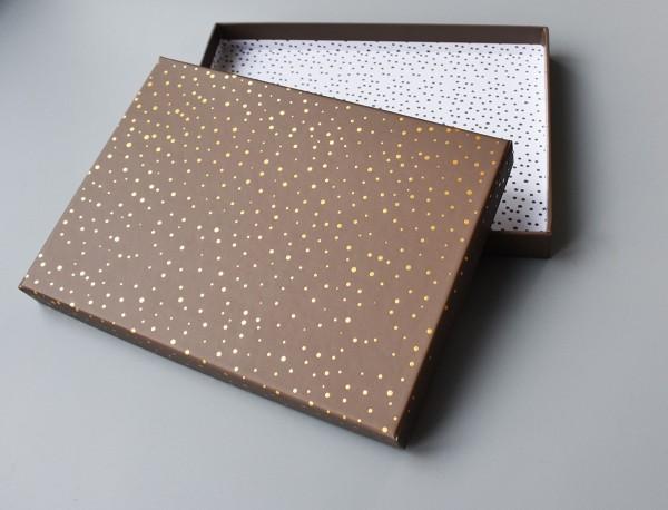 BRAUN-GOLD: Stabile Schachtel mit Deckel als Geschenkbox oder Fotobox - original artoz- PURE Box