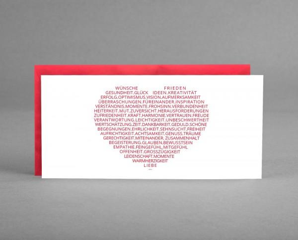 HERZENSWÜNSCHE: Glückwunschkarte zum Neujahr, Geburtstag, Valentinstag, Muttertag... inkl. Kuvert