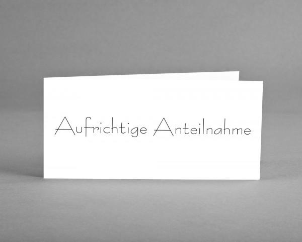 """FIRMENGRUSSKARTE MIT LOGO: 25 Trauer-Karten """"Aufrichtige Anteilnahme"""" mit Logo inkl. Kuverts"""