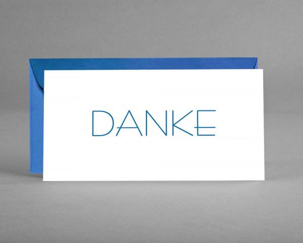 SERIÖS IN BLAU: Danke-Karte weiß mit blauer Schrift inkl. blauem Kuvert