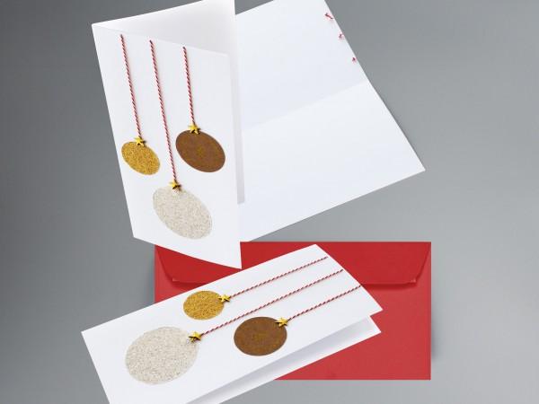 WEISS-BRILLANT-GOLD-GLITZER-KUGEL: Weihnachtskarte mit glitzernden Weihnachtsbaumkugeln inkl. Kuvert
