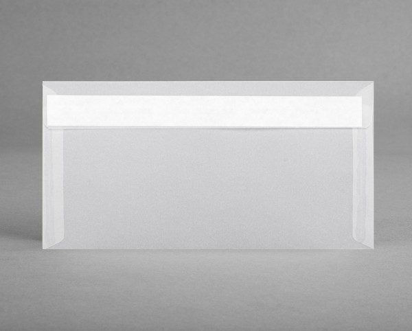 In WEISS-TRANSPARENT: 5 Kuverts , DIN lang 220 x 110 mm, ohne Sichtfenster (Set)