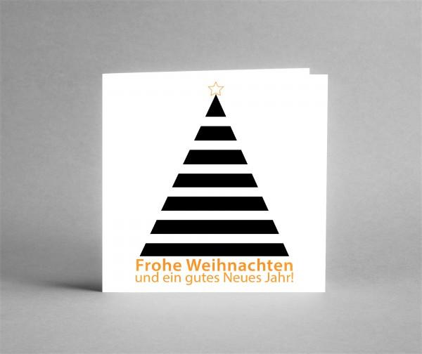 """AUSDRUCKSSTARK: Weihnachtskarte """"Weihnachtsbaum schwarz-weiß"""" inkl. Kuvert und Versand"""