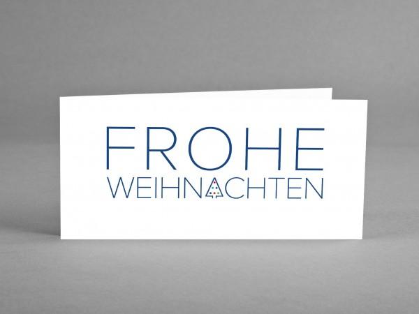 """WEIHNACHTLICH IN ROT: Weihnachtskarte """"Frohe Weihnachten"""" mit blauem Schriftzug inkl. Kuvert"""