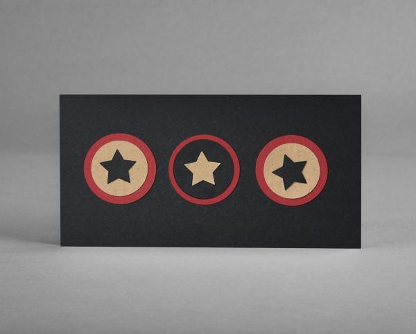 """WEIHNACHTSSTERNE: Weihnachtskarte """"Sterne"""" auf schwarzem Bastelkarton inkl. Kuvert"""