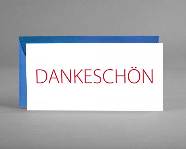 ZEITLOS: Dankeschön-Karte weiß mit rotem Schriftzug inkl. Kuvert